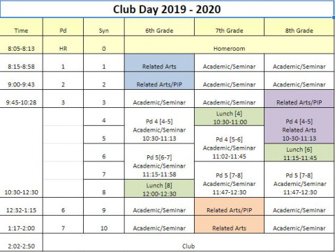 Club Day Schedule